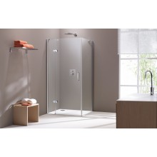 CONCEPT 300 sprchové dvere 900x1900mm krídlové, s pevným segmentom, pravé, strieborná / číre sklo PT432402.092.322