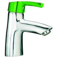 LAUFEN CURVEPRO umývadlová páková batéria so zelenou ovládacou páčkou, bez automatickej výpuste, chróm / zelená 3.1165.1.014.110.1