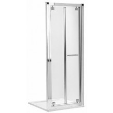 KOLO GEO-6 skladacie dvere 800x1900mm do niky alebo pre kombináciu s pevnou bočnou stenou alebo rozširovacím panelom, strieborná lesklá/číre sklo