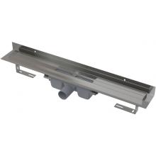 CONCEPT 100 podlahový žľab 1050x60mm s okrajom pre plný rošt a pevným golierom k stene, nerez