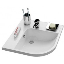 RAVAK BE HAPPY špeciálne umývadlo rohové 570x500x185mm z liateho mramoru, ľavé s otvorom, biela