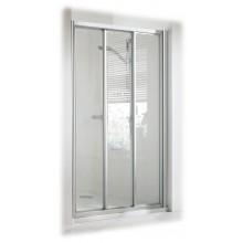 CONCEPT 100 sprchové dvere 800x800x1900mm posuvné, rohový vstup, 3-dielne s pevným segmentom, biela/matný plast