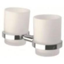 INDA STORM držiak s pohárom 19x10x10cm dvojitý, chróm/sklo