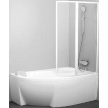 RAVAK ROSA VSK2 vaňová zástena 1070-1090x1500mm rámová, dvojdielna, pravá, transparent/biela