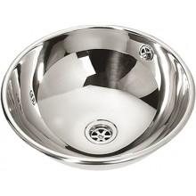 SANELA SLUN45 umývadlo, Ø360mm, okrúhle, zápustné, s prepadom, nerez lesk