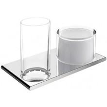 KEUCO EDITION 400 držiak s pohárom 215x120mm, s dávkovačom, sklo, chróm