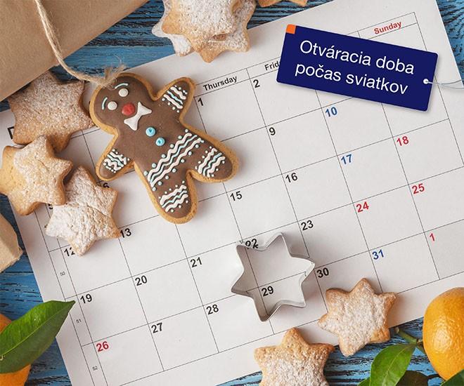 Otváracia doba počas vianočných a novoročných sviatkov
